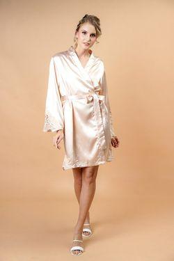 Intissimo Pam Champagne Short Silk Robe