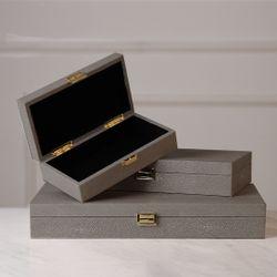 Grey Leather Box Medium LA-1902