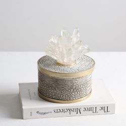 Grey Crystal Jewelry Box Short Round
