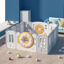 Donut-Fence Foldable Baby & Toddler Playpen  12+2 Panels