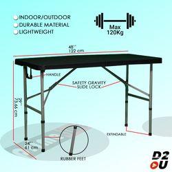 Primetime Premium 4 Ft. Rectangular Fold-in-Half Dual Height Plastic Table (Colored)