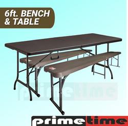 Primetime 6ft. Fold-in-Half Plastic Rattan Look Table