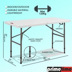 Primetime 4 Ft. Rectangular Fold in Half Adjustable Dual Height Plastic Table