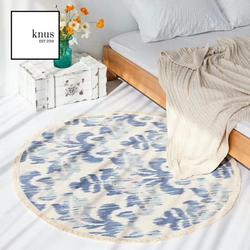 RAINE Round woven cotton tassel area rug carpet 120*120cm