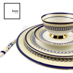 Bone China Dinnerware 8 Piece Set WALWORTH  Blue Gold