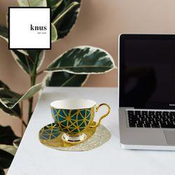 Coffee Tea Cup Saucer Set Green Gold Bone China VIANDEN