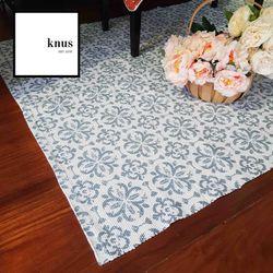 Blue Azur flower clover leaf woven cotton area rug carpet 120*180cm