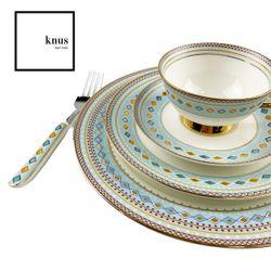 Bone China Dinnerware 8 Pc Set BODIAM Light Blue Diamond