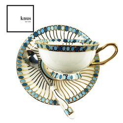 Coffee Tea Cup Saucer Teaspoon Set Blue Green Circle Gold Bone China - Tintagel