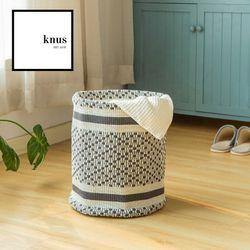 Storage basket hamper Gray Diamond cotton woven foldable planter organizer round design