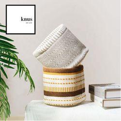 Storage basket mini hamper Herringbone cotton woven foldable for planter organizer round design