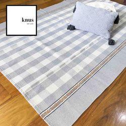 BALANCE Gingham woven cotton area rug carpet 120*180cm