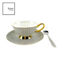 Coffee Tea Cup Saucer Teaspoon Set Black Gold Bone China CARLISLE