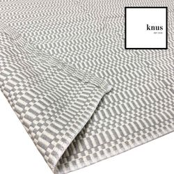 CALM grey white woven cotton area rug carpet classic  120x180cm