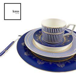 Bone China Dinnerware 8 Piece Set DURHAM Blue Gold