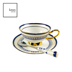 Coffee Tea Cup Saucer Teaspoon Set Blue Gold Bone China - Walworth