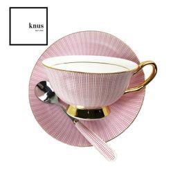 Coffee Tea cup Saucer Teaspoon Set Pink Gold Bone China - Pink Carlisle