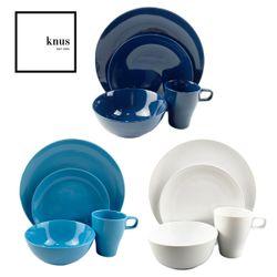 Dinnerware 16 Piece Set Classic Modern Glossy Scandi Stoneware