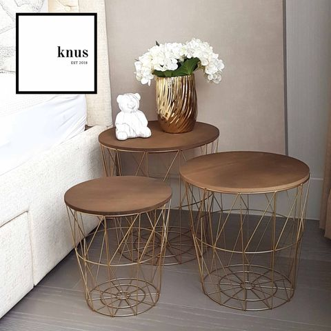 Set of 3 Modern Black or Gold Wire Decorative Side Table All Purpose Storage with Wooden Lid