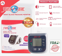First Line Wrist-Type Blood Pressure Monitor Power Slot and with Batteries