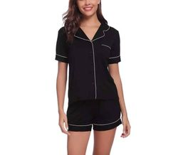 Bamboo Pajama Shorts Set - Black