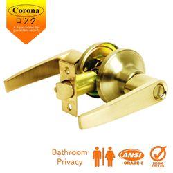Corona Privacy Keyless Bathroom Lever Lock (Polished Brass)