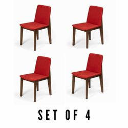 Stitch Red Fabric  Dining Chair Solid wood legs Set of 4