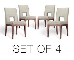 Hole Dining Chair beige Solid wood legs Set of 4
