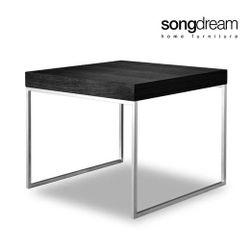 Num Side Table Black Oak Stainless Steel Legs