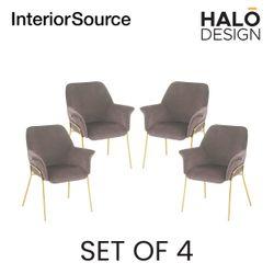 Halo Design Athena Dining Chair Light Brown (Set of 4)