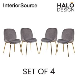 Halo Design Cleo Dining Chair Velvet Finished Chair Gold Metal Legs Dark Grey (Set of 4)