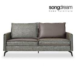Contrast 3 Seater Sofa P.U Leather + Fabric Grey