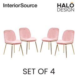Halo Design Cleo Dining Chair Velvet Finished Chair Gold Metal Legs Blushed (Set of 4)