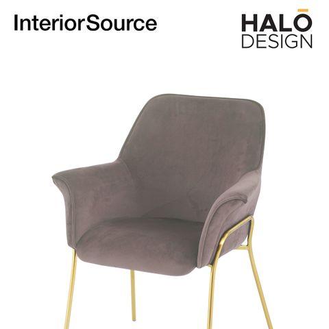 Halo Design Athena Dining Chair Velvet Finished Golden Brushed legs Light Brown (Set of 4)