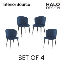Halo Design Riley Dining Chair Navy Blue- Set of 4