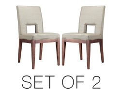 Hole Dining Chair beige Solid wood legs Set of 2
