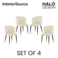 Halo Design Riley Dining Chair Beige- Set of 4