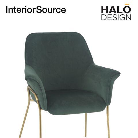Halo Design Athena Dining Chair Velvet Finished Golden Brushed legs  Dark Green