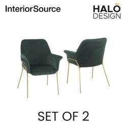 Halo Design Athena Dining Chair Velvet Finished Golden Brushed legs - Dark Green (Set of 2)