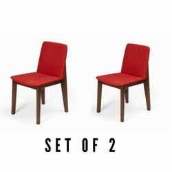 Stitch Red Fabric  Dining Chair Solid wood legs Set of 2