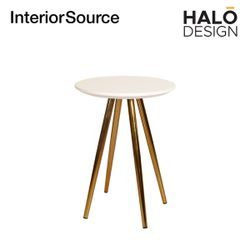 Halo Design Morgan Coffee Table White top Gold Finished Base