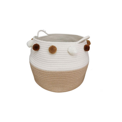 Woven Cotton Rope Basket with Poms