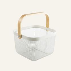 Minimalist Wire Basket with Wooden Handle