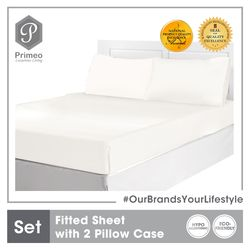PRIMEO Premium Bedsheet with 2 Pillow Case Set Full Set 100% Cotton 300 Thread Count Amazing Gift Idea For Any Occasion!