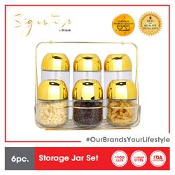 Signature by SLIQUE Premium Gold Storage Jars Set of 6 350 ml & 800ml