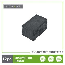 SCRUBZ Premium Scourer Pads Set of 12 Cleaning Material 14.9 x 9 x 2 cm Made of Polyester