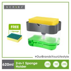SCRUBZ Premium 2-in-1 Sponge Holder w/ Soap Dispenser Cleaning Material 14 x 9 x 10.8 cm Made of Polypropylene(PP)