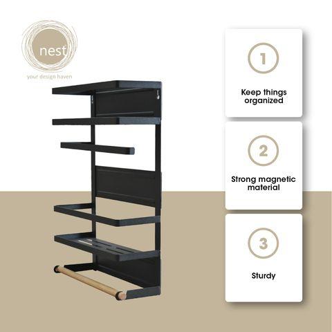 NEST DESIGN LAB Premium Heavy duty Durable 2 Tier Magnetic Organizer Rack Metal 30 x 11 x 45 cm Black Amazing Gift Idea For Any Occasion