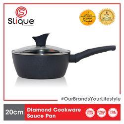 SLIQUE Premium Saucepan 2 Layer Non-stick Coating, Induction base Diamond Cookware 20 cm Amazing Gift Idea For Any Occasion!