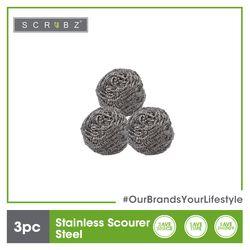 SCRUBZ Premium Stainless Steel Scourer Set of 3 5.5 x 5.5 x 3 cm Tough Kitchen Cleaning